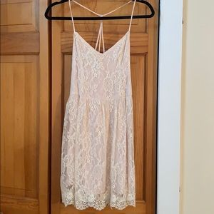 Pale pink/cream romantic lace mini dress